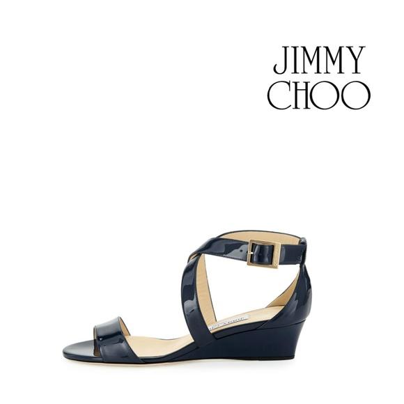 30aab2fc335 Jimmy Choo Shoes - Jimmy Choo Navy Patent Leather Chiara Sandals